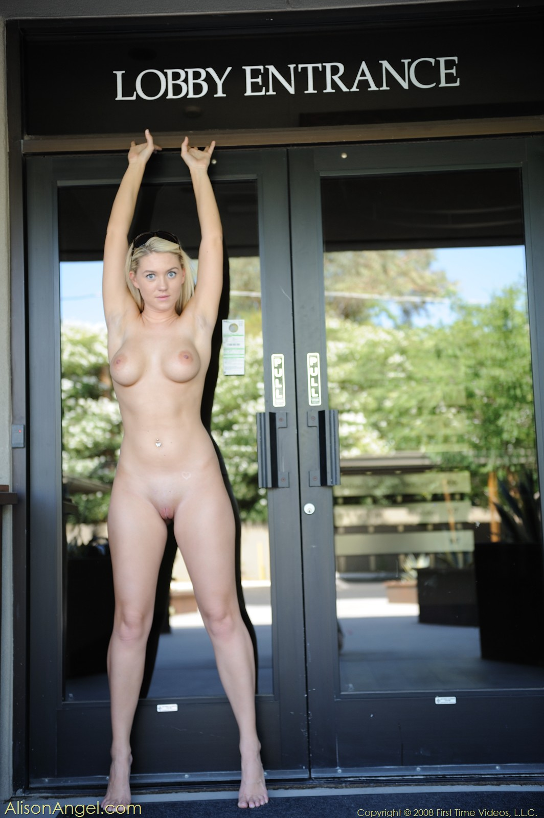 Pictures of Alison Angel getting naked outside