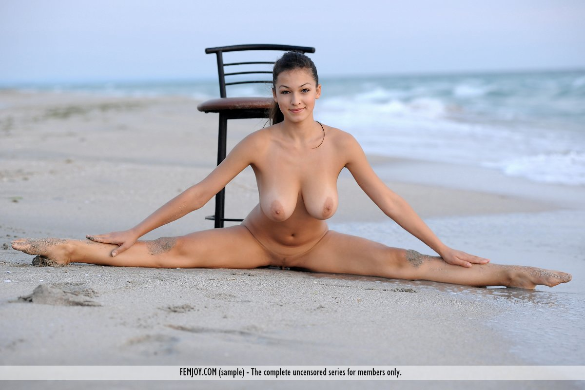 naked yoga on beach