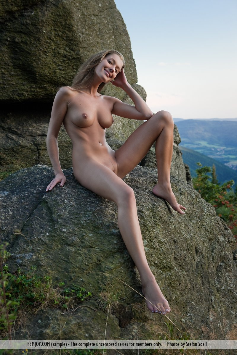 Nude woman mountain painting