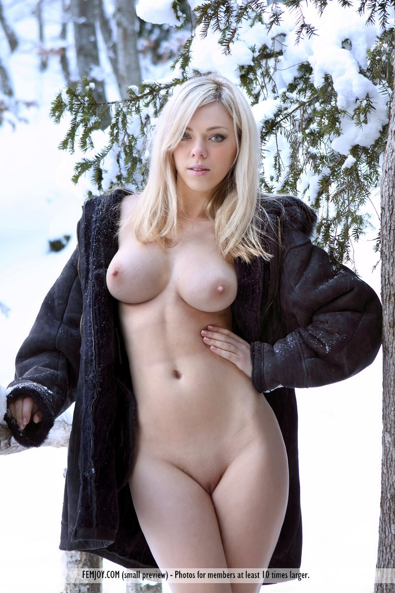 naked in the snow