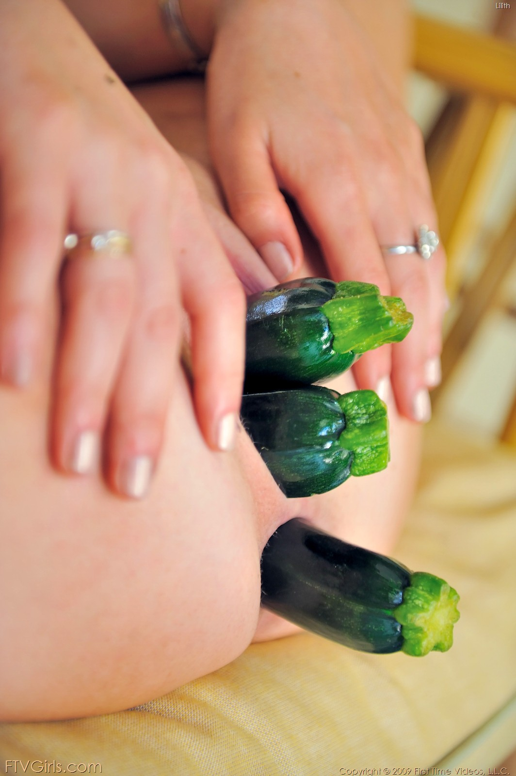 Hot girls fucking vegetables