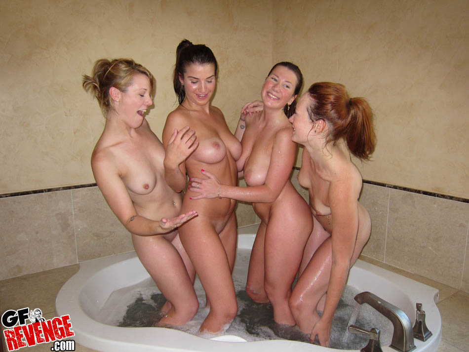 Naked college girls bathing something is