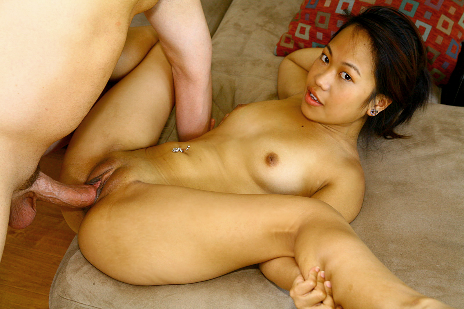 Asian babe fucks big dick