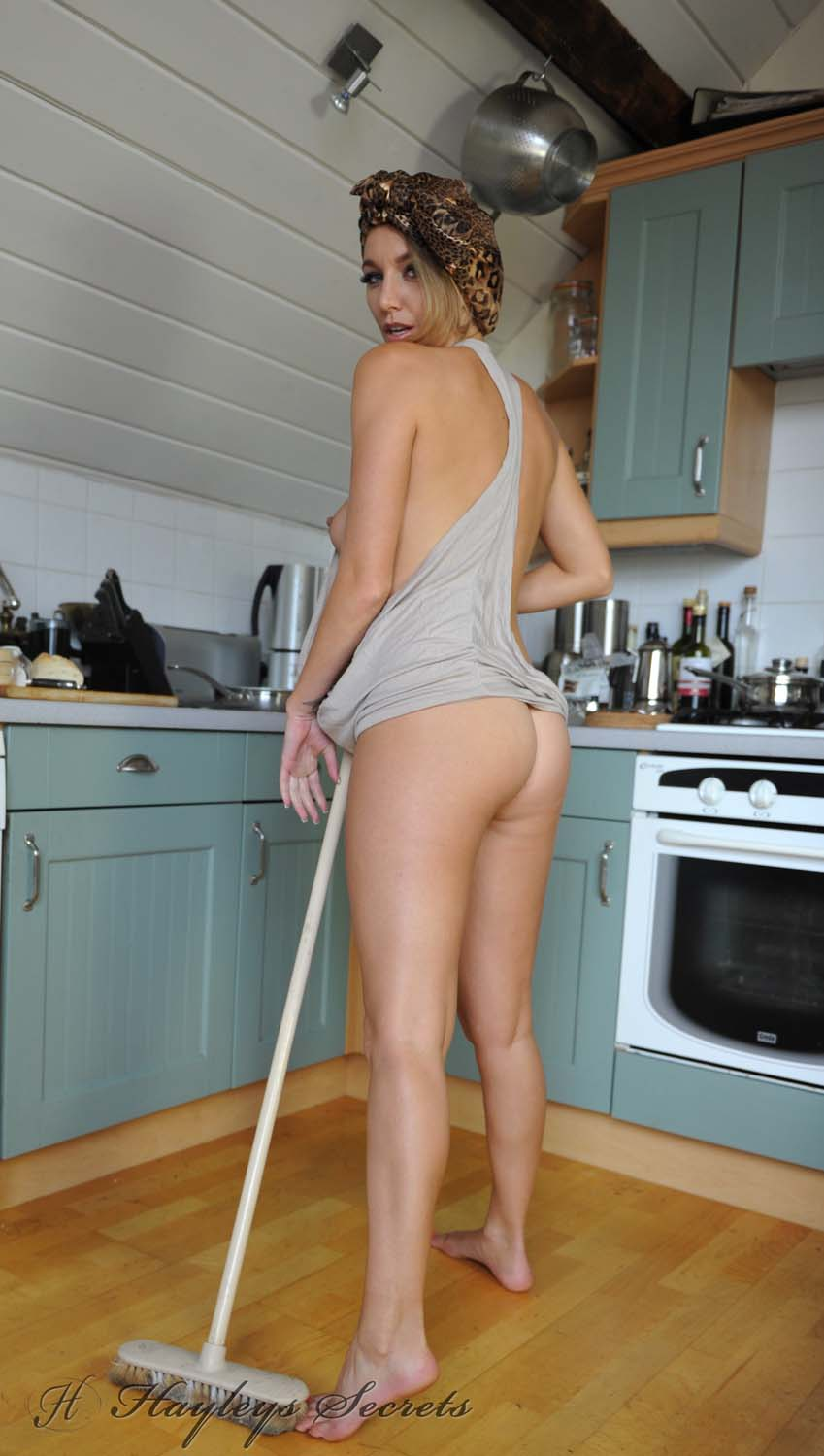 Naked men housework